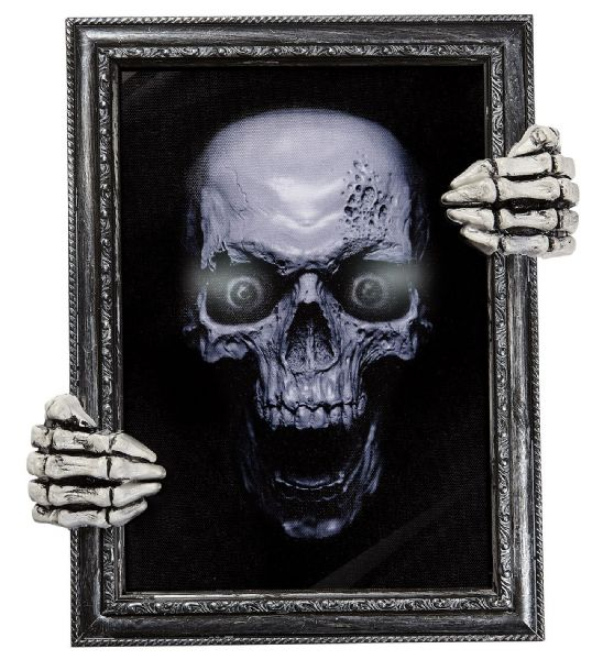 BLINKING EYES TALKING SKULL PAINTING w/SKELETON HAND FRAME Decoration Halloween